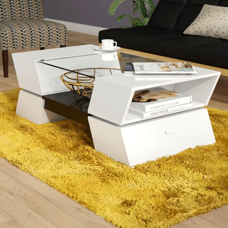 bàn trà sofa màu trắng gỗ công nghiệp