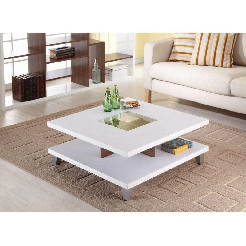 bàn trà 2 tầng bằng gỗ công nghiệp màu trắng