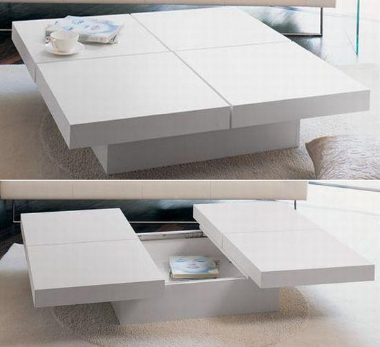 bàn trà vuông màu trắng ngăn kéo sang 2 bên