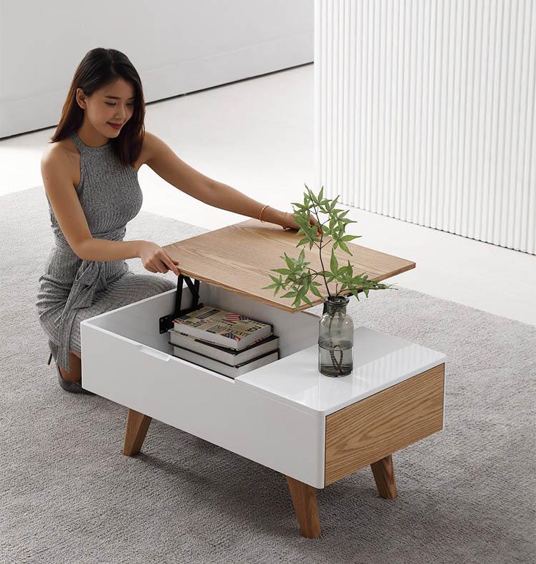 bàn trà gỗ công nghiệp có ngăn chứa đồ nhỏ gọn
