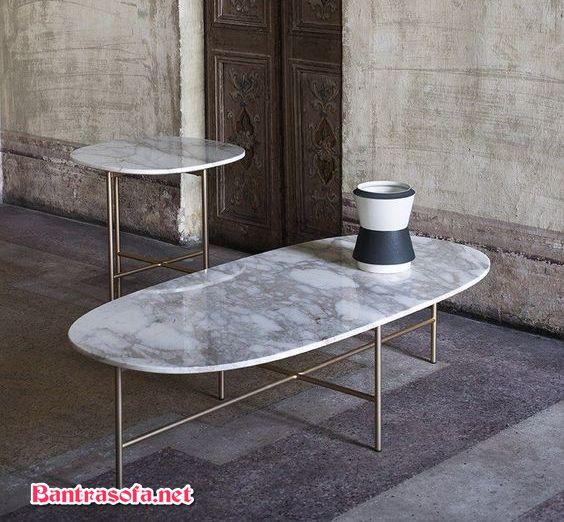 bàn trà mặt đá hoa cương chân sắt