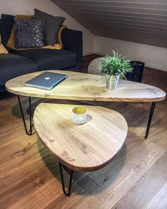bàn trà gỗ đôi hình tam giác chân sắt