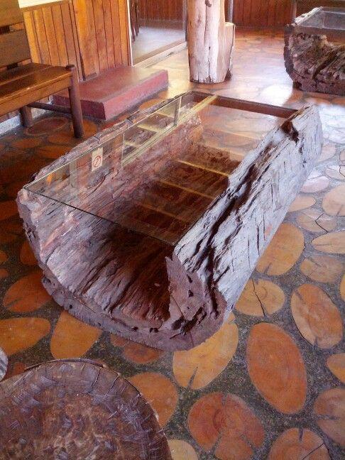 bàn trà sofa thân cây rỗng giữa mặt kính