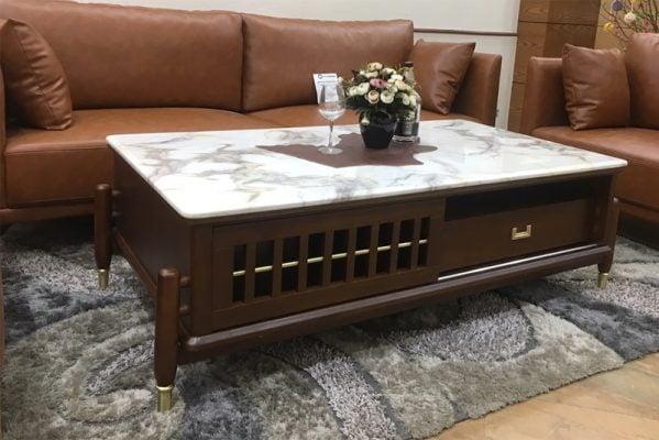 Bàn trà gỗ mặt đá marble đẹp và sang trọng cho phòng khách rộng.