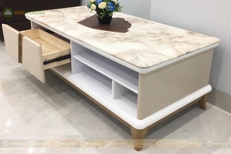 bàn trà sofa mặt đá 2 ngăn kéo