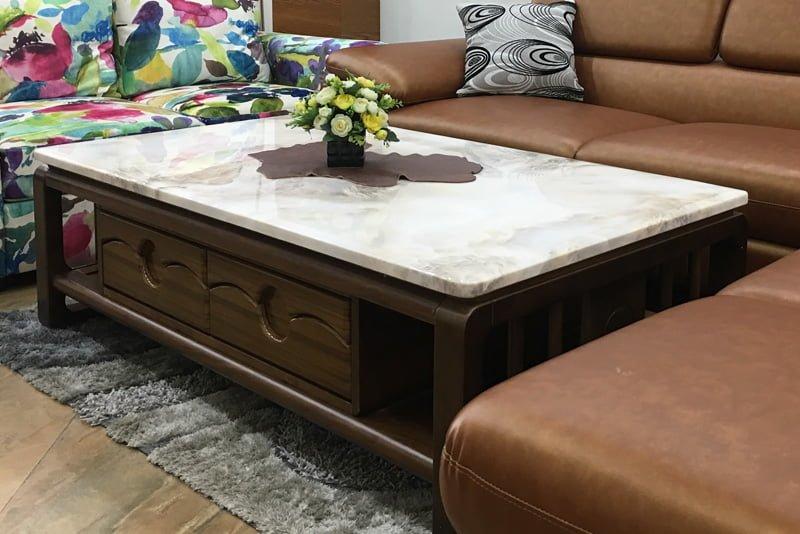 bàn trà sofa khung gỗ mặt đá đẹp