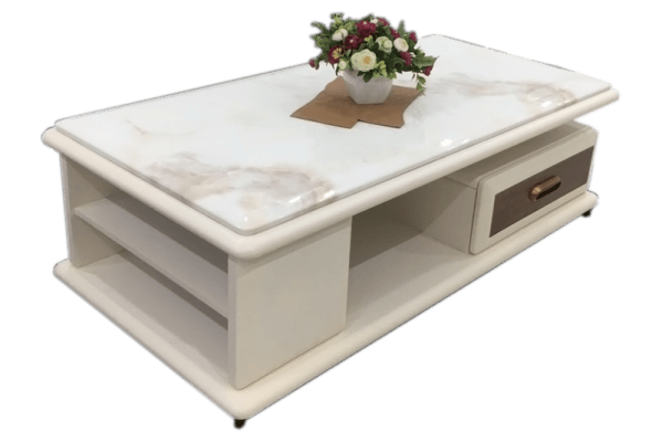 bàn trà mặt đá marble màu trắng sữa đẹp