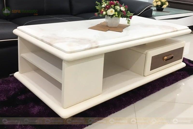 bàn trà sofa mặt đá marble màu trắng sữa 2 tầng