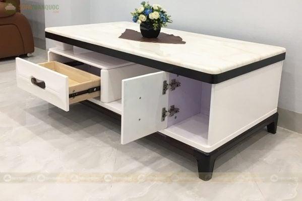 Ngăn chứa đồ bàn trà sofa đa dạng với 2 ngăn đựng đồ dạng kéo và dạng mở.