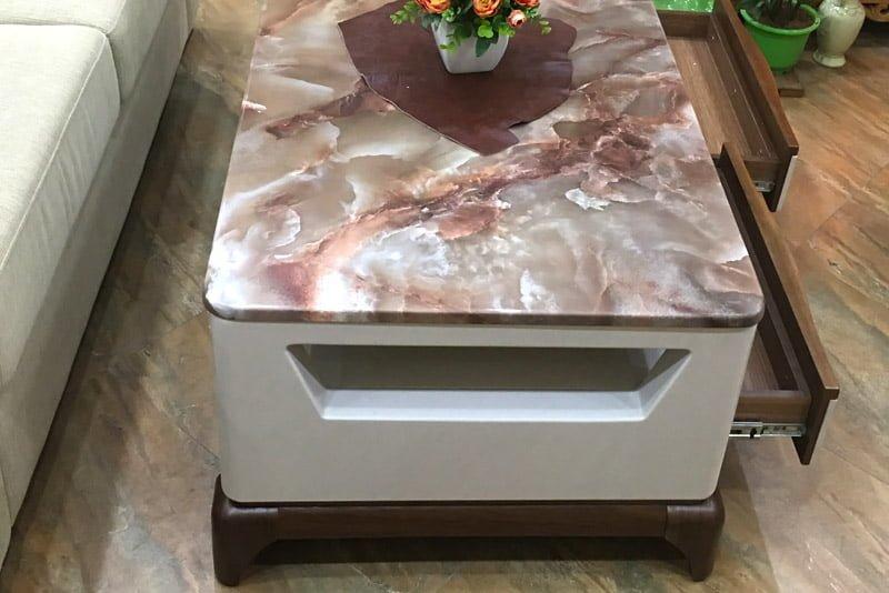 bàn trà đá cẩm thạch 2 ngăn kéo