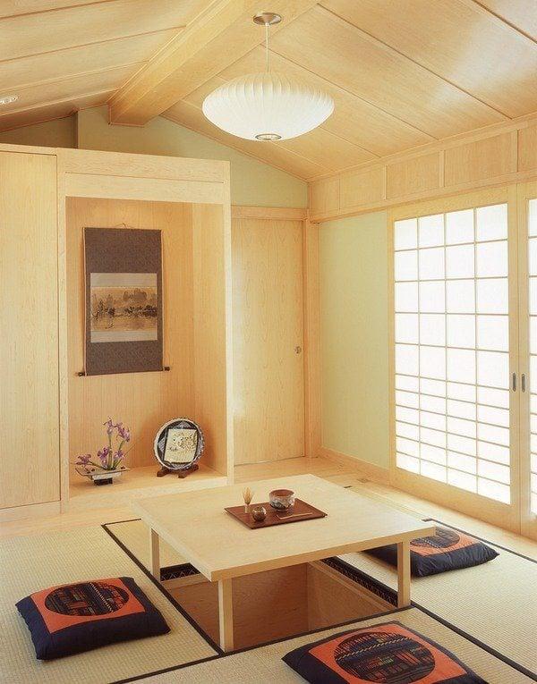 bàn trà phong cách Nhật kiểu dáng ngồi bệt