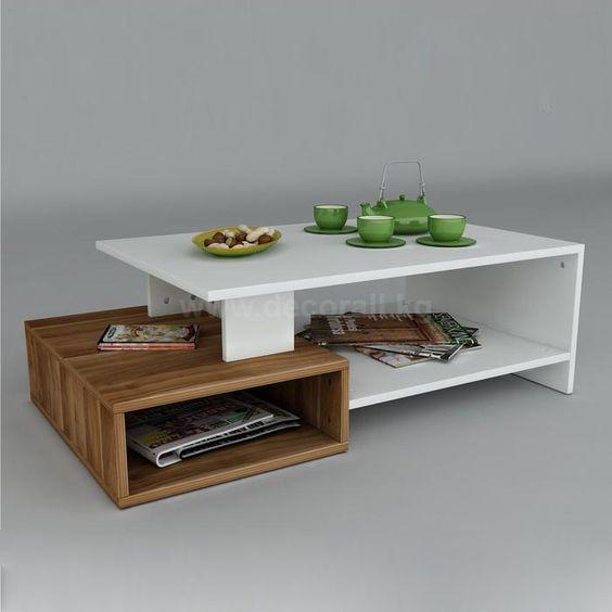 bàn trà gỗ công nghiệp dạng 2 tầng