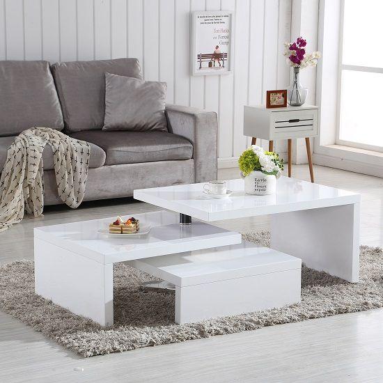 bàn trà gỗ công nghiệp màu trắng hiện đại