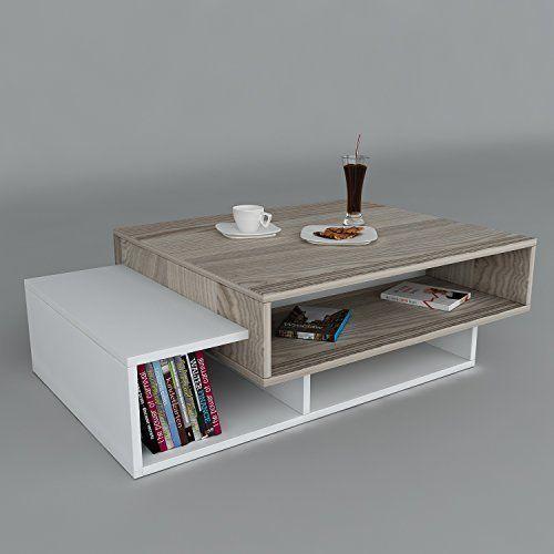 bàn trà gỗ công nghiệp kèm kệ sách gỗ 2 tầng