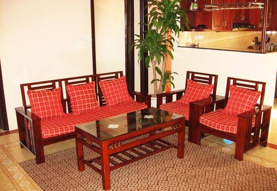 Bộ bàn ghế uống trà khách sạn giá rẻ 3 ghế màu đỏ