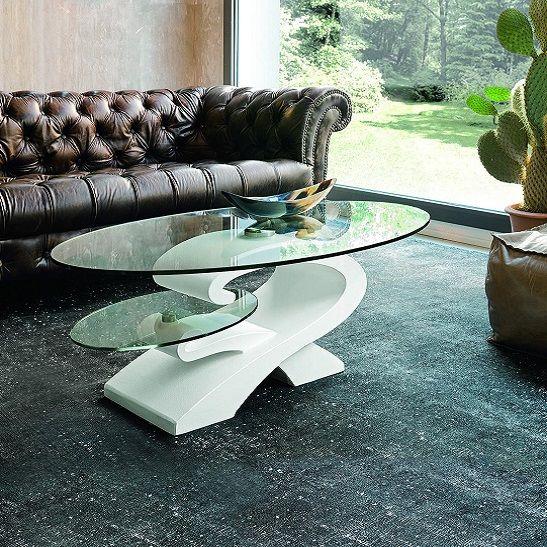 bàn trà sofa mặt kính hình elip