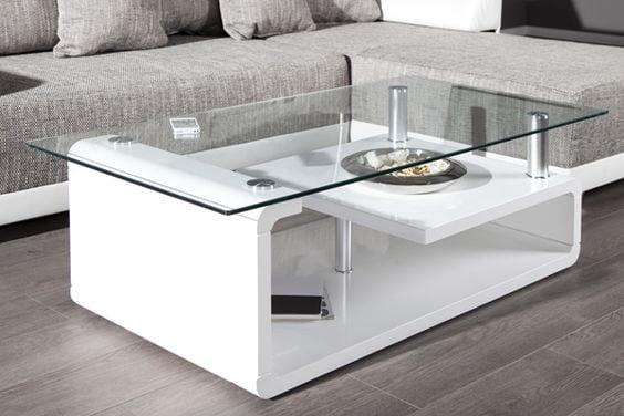 bàn trà mặt kính gỗ công nghiệp dạng 2 tầng