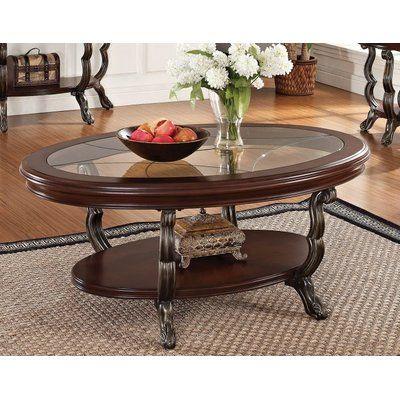 bàn trà hình elip mặt kính 2 tầng khung gỗ tự nhiên