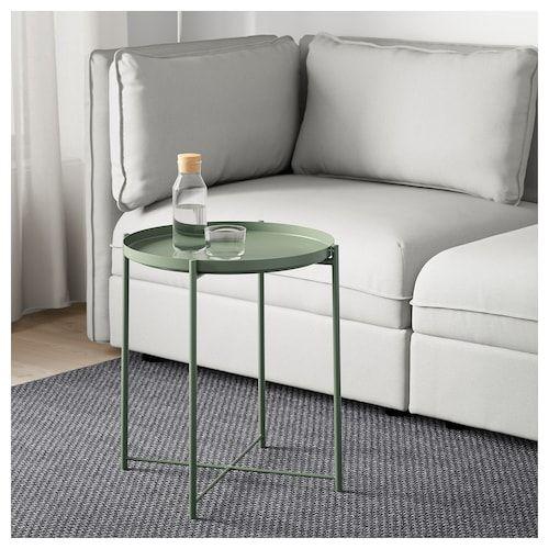 bàn trà tròn chân sắt màu xanh dùng ghế sofa phòng ngủ