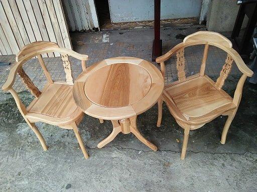 bộ bàn ghế uống trà bằng gỗ xoan đào