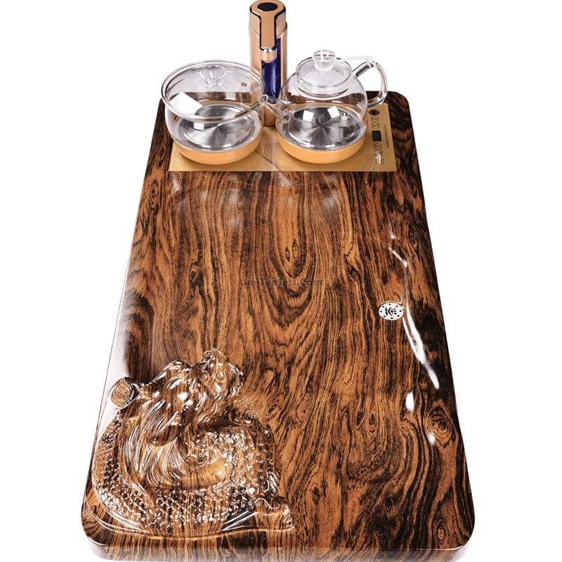 khay trà gỗ hiện đại chạm hình rồng