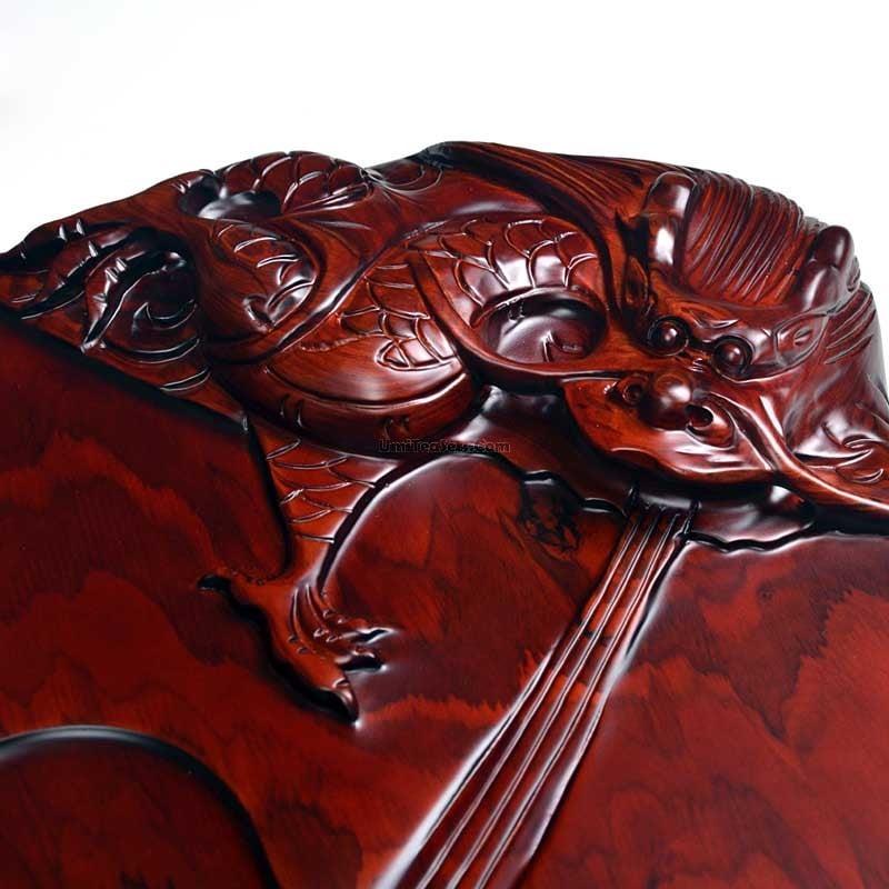 khay trà gỗ chạm khắc hình rộng đẹp