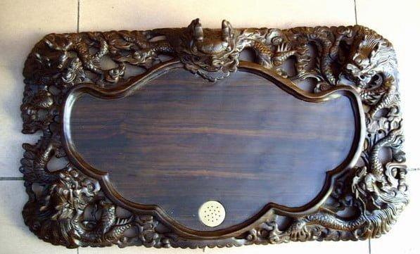 khay trà cổ bằng gỗ khắc đầu rồng