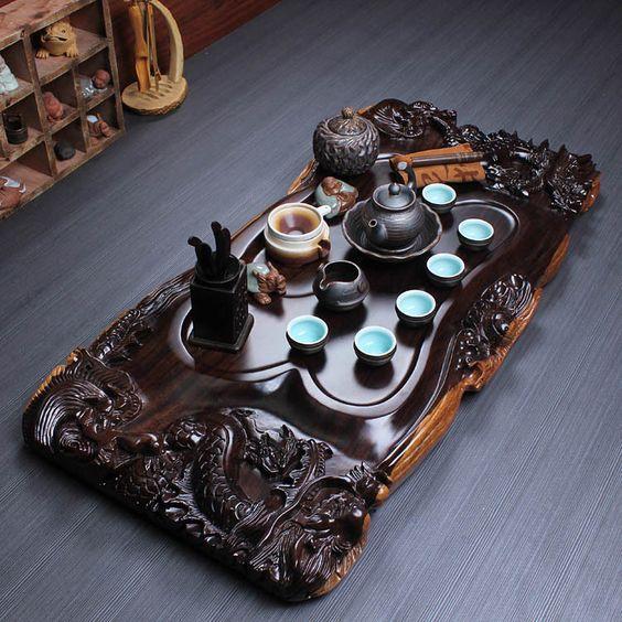 khay trà gỗ hình chữ nhật chạm hình rồng