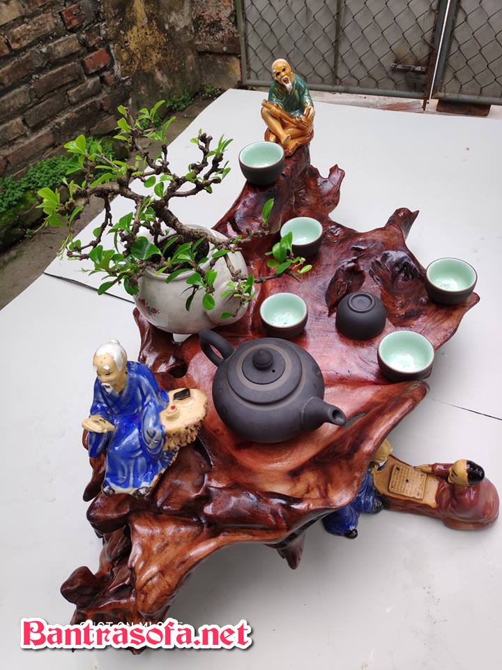 khay trà gỗ nguyên khối và tiểu cảnh đẹp