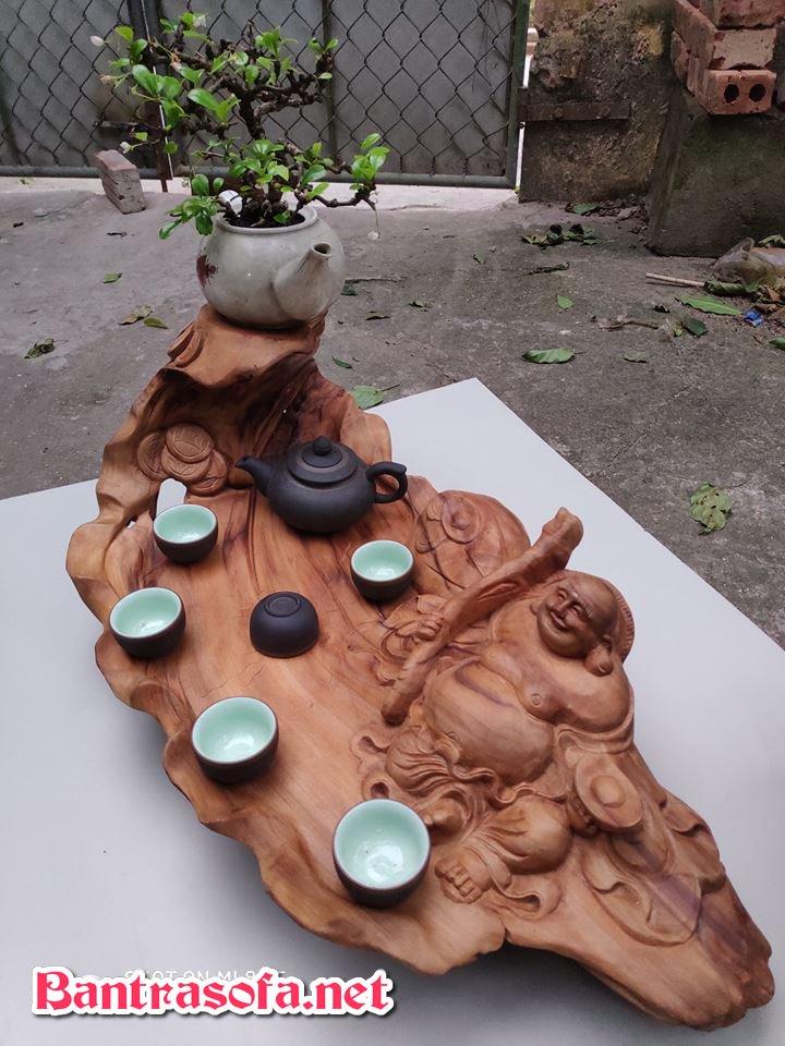 khay trà gỗ chạm khắc phật di lặc