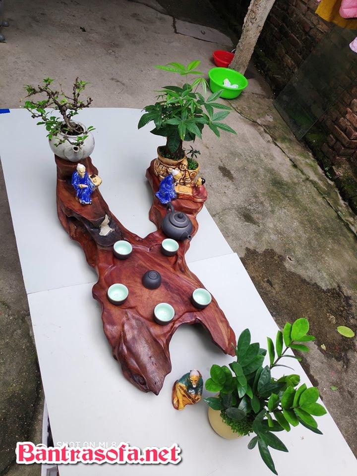 khay trà gỗ nguyên khối đẹp sử dụng gỗ tự nhiên