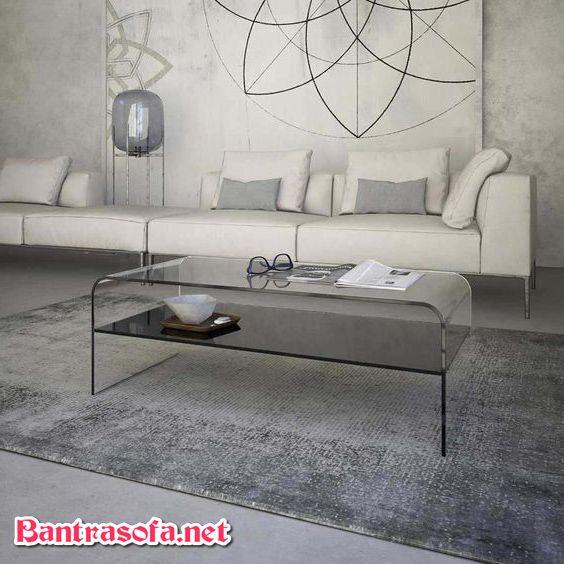 bàn trà kính 2 tầng uốn cong