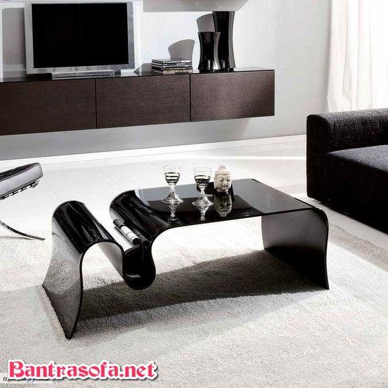 bàn trà kính uống cong màu đen