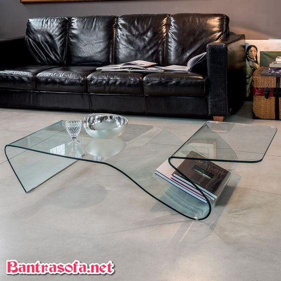 bàn kính cong đẹp cho phòng khách