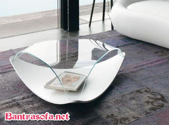 bàn kính cong phòng khách đep hình vỏ sò
