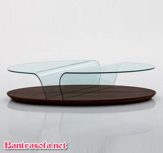 bàn kính cong uống trà chân đế gỗ
