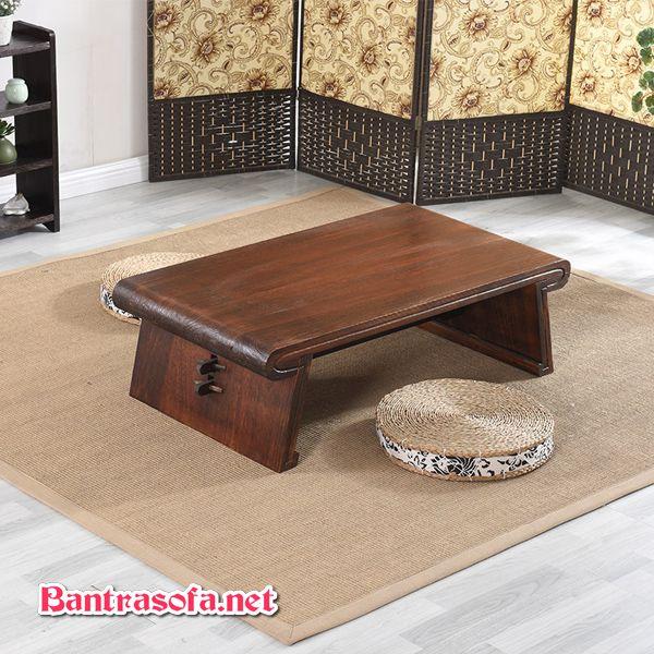 bàn trà osin gỗ sồi chân thấp ngồi bệt