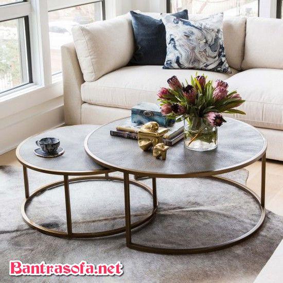 bàn trà mặt đá granite dạng bàn tròn đôi