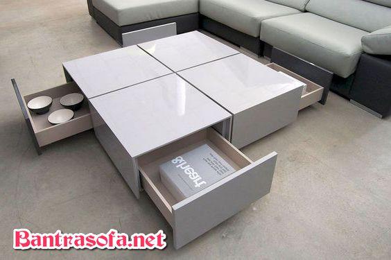 bàn sofa đá màu trắng sữa hình vuông có ngăn kéo đá granite