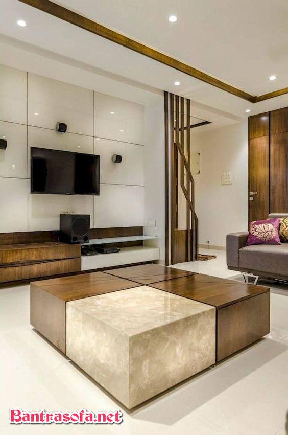 bàn đá hoa cương phòng khách hình vuông