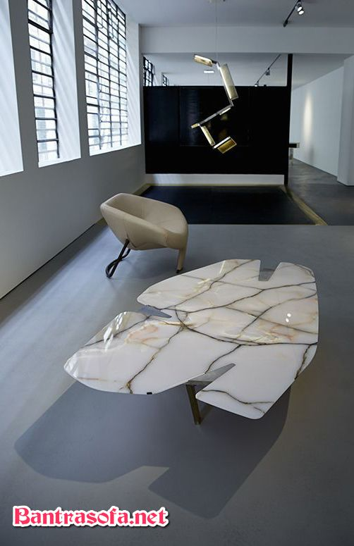 mặt bàn sofa đá đẹp màu trắng sữa