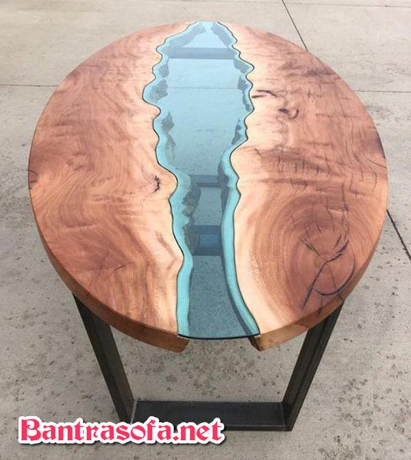 bàn trà gỗ hình elip phủ keo epoxy resin
