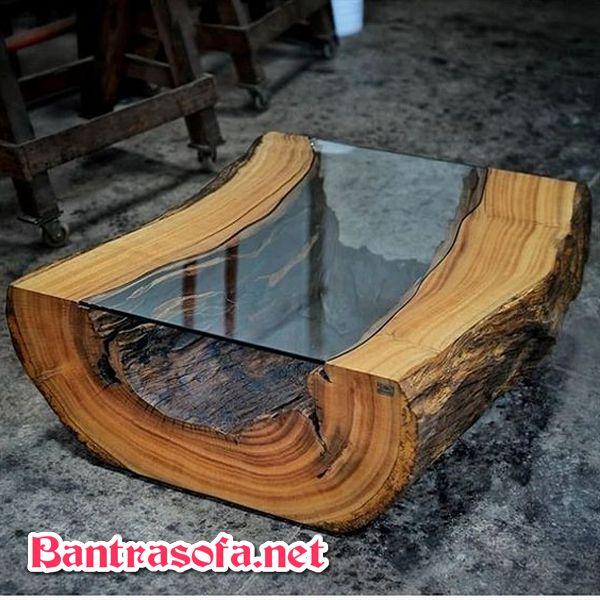 bàn trà gốc cây dùng epoxy resin hoặc mặt kính