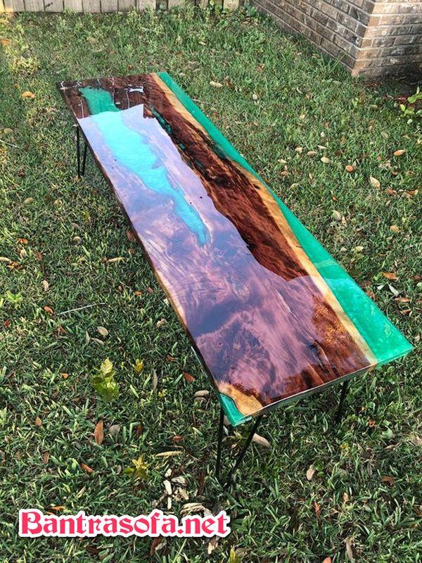 bàn gỗ phủ keo đặc biệt epoxy resin dùng ngoài trời hình chữ nhật