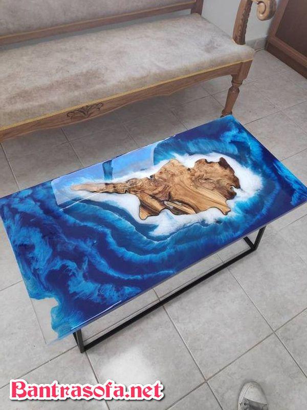 bàn trà gỗ màu xanh dùng keo Epoxy Resin hình chữ nhật