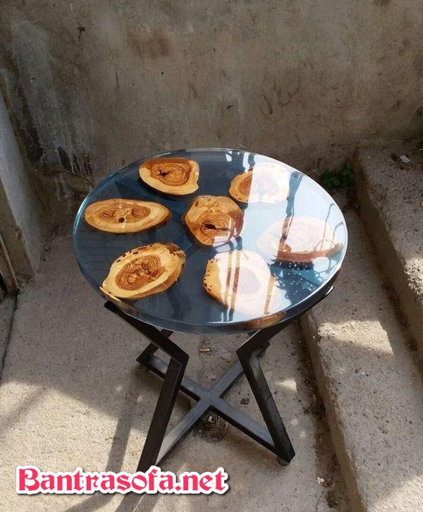 bàn gỗ trà tròn dùng keo epoxy resin