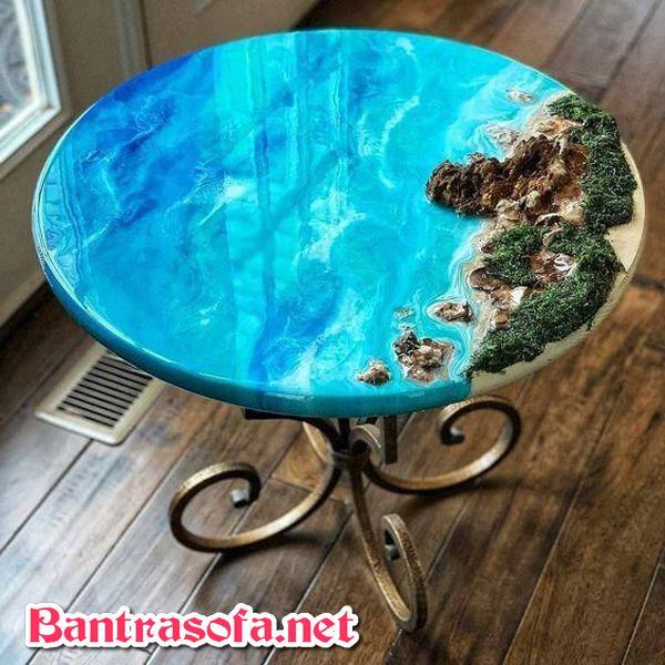 bàn trà epoxy resin chân sắt tròn