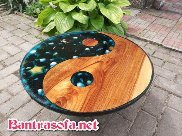 mặt bàn epoxy resin xoáy âm dương