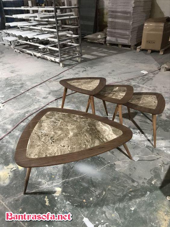 bàn trà hình tam giác mặt đá