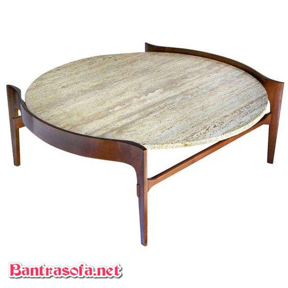 bàn sofa mặt đá chân gỗ cổ điển